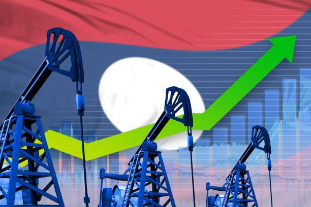 growing graph on Lao People Democratic Republic flag background - industrial illustration of Lao People Democratic Republic oil industry or market concept. 3D Illustration stock photo