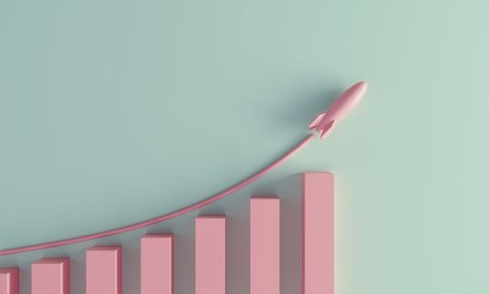 A pastel colored growing graph with rising rocket. (3d render)