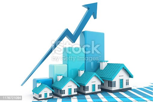 istock Growing home sale graph 1176721094