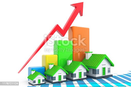 istock Growing home sale graph 1176721124
