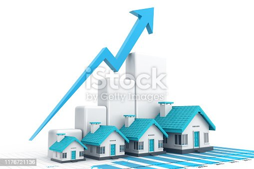 istock Growing home sale graph 1176721136