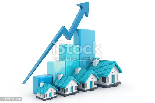 istock Growing home sale graph 1176721139