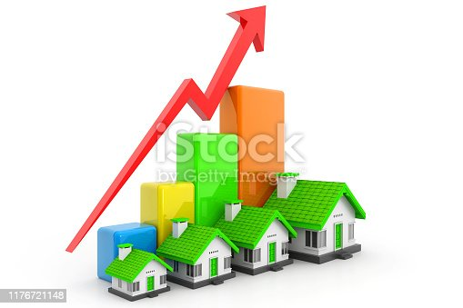 istock Growing home sale graph 1176721148