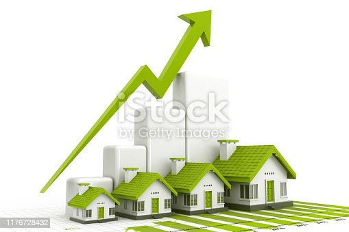 istock Growing home sale graph 1176728432