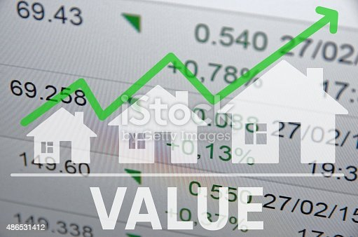 istock Growing housing market. Uptrend arrow. 486531412