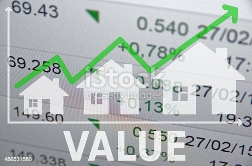 istock Growing housing market. Uptrend arrow. 486531580
