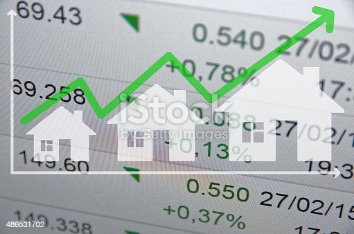 istock Growing housing market. Uptrend arrow. 486531702