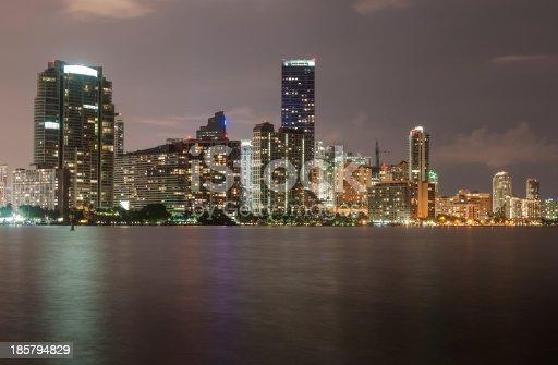 Miami bayfront skyline at night