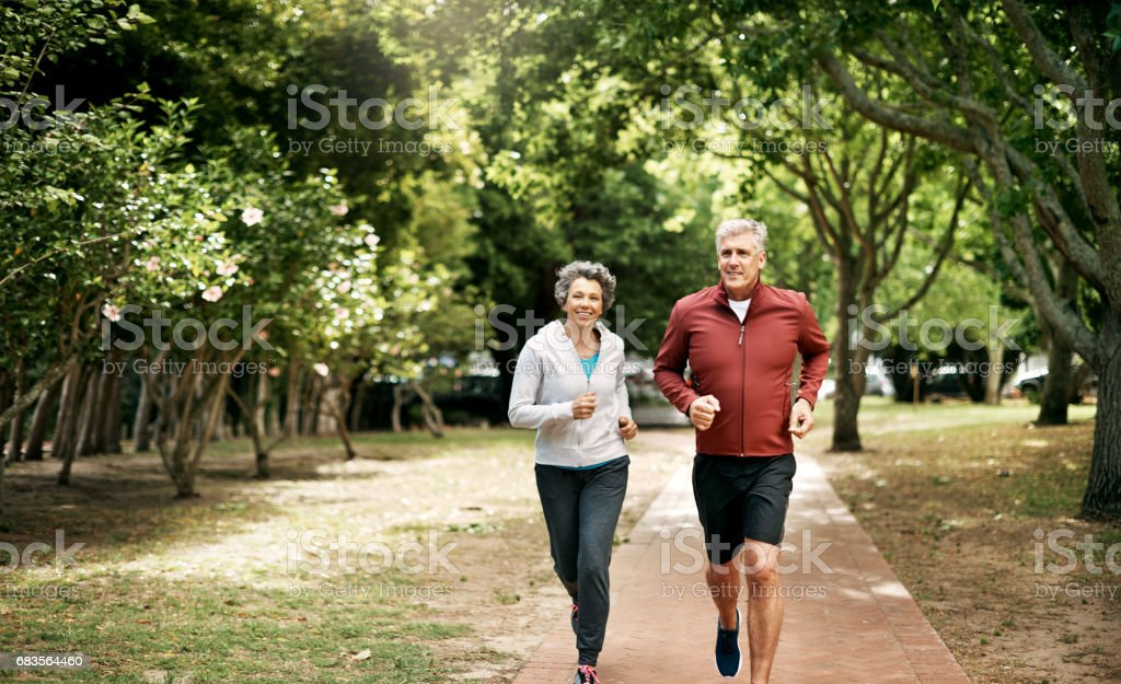 Growing old and getting healthy together stock photo