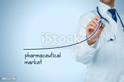 509469434istockphoto Growing pharmaceutical market concept 963122706