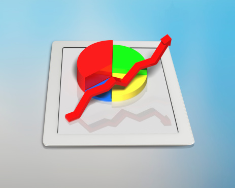 486439381 istock photo Growing red arrow and pie on tablet 483454957