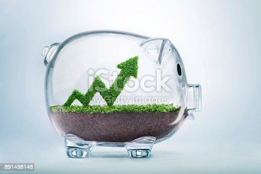 istock Growing savings arrow graph concept 891498148