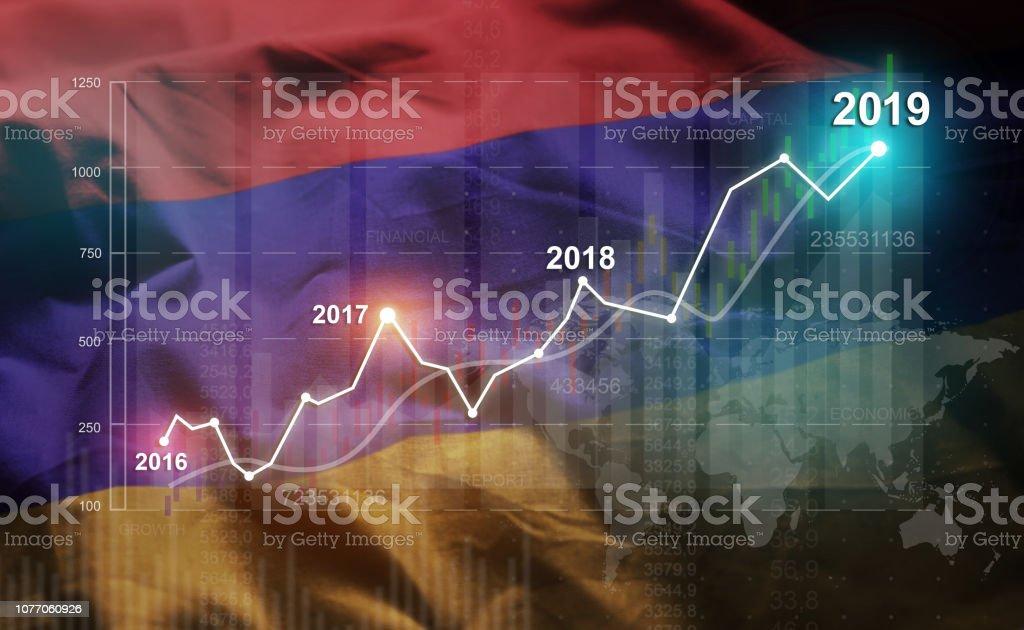 Growing Statistic Financial 2019 Against Armenia Flag stock photo