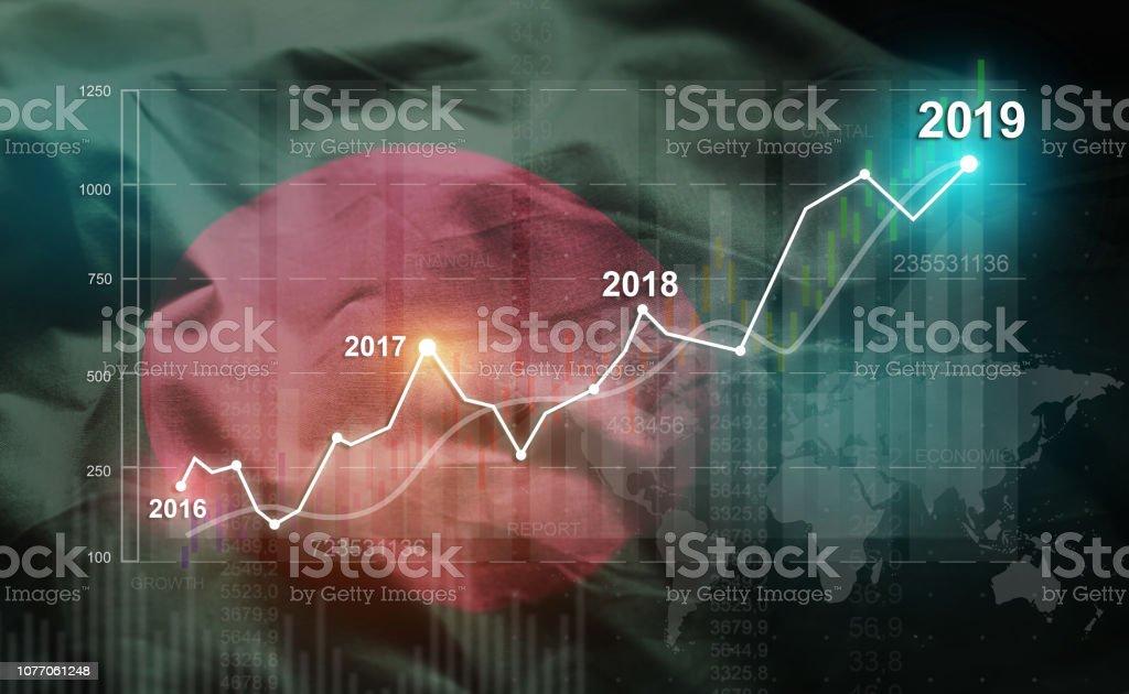 Growing Statistic Financial 2019 Against Bangladesh Flag stock photo