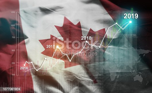 Growing Statistic Financial 2019 Against Canada Flag