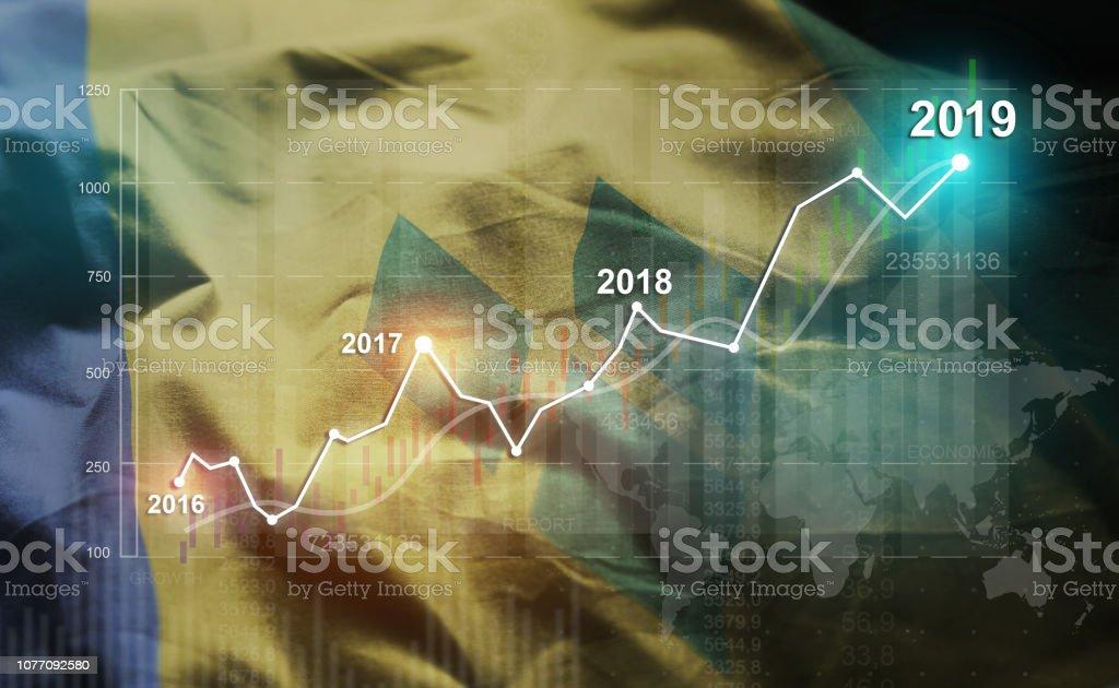 Estatística crescente 2019 financeira contra a bandeira de São Vicente e Granadinas - foto de acervo