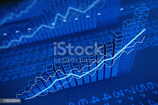 istock Growing stock values diagrams - 3d render 123203044