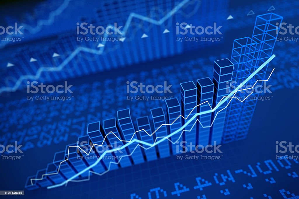 Growing stock values diagrams - 3d render stock photo