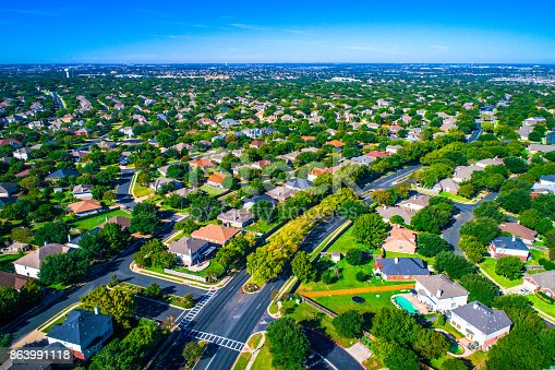 istock Growing suburban town Round Rock , Texas , USA aerial drone view high above Suburb Neighborhood with Vast amount of Homes 863991118