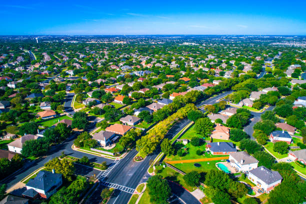 growing suburban town round rock , texas , usa aerial drone view high above suburb neighborhood with vast amount of homes - residential district stock pictures, royalty-free photos & images