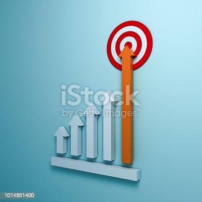1014851396 istock photo Growing up arrow graph aiming to goal target or red dart board the business concept on blue pastel color wall background with shadow 3D rendering 1014851400