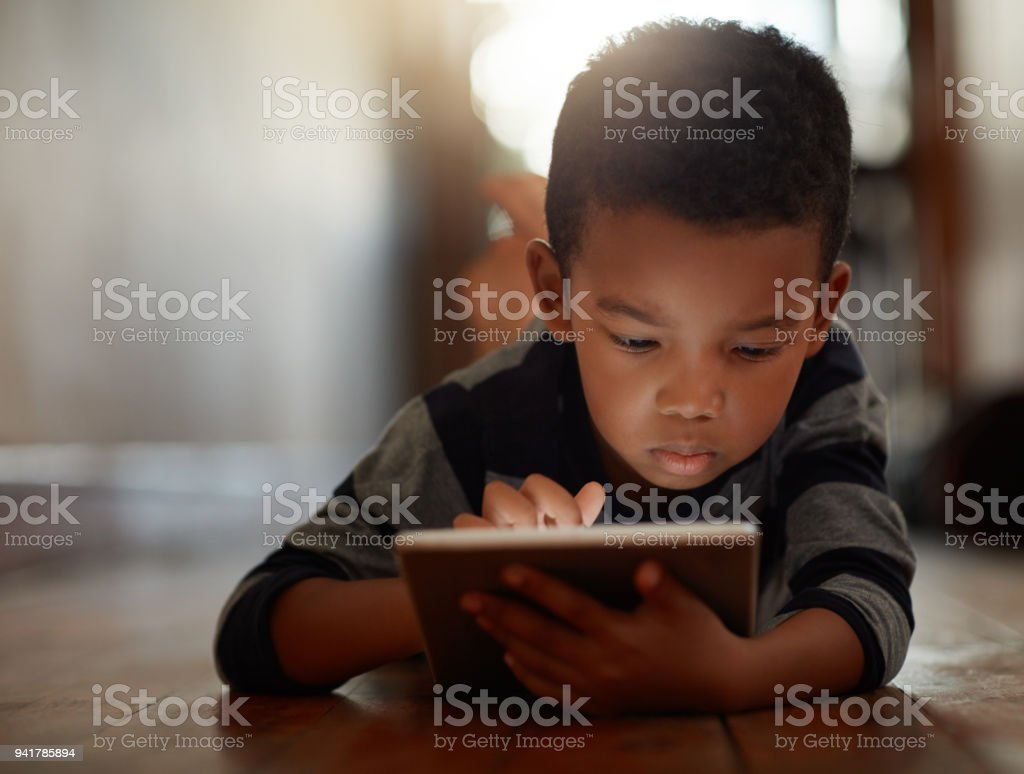 Growing up in a technology-based world stock photo