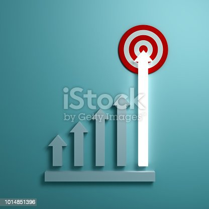 istock Growing up light arrow graph aiming to goal target or red dart board the business concept on green pastel color wall background with shadow 3D rendering 1014851396