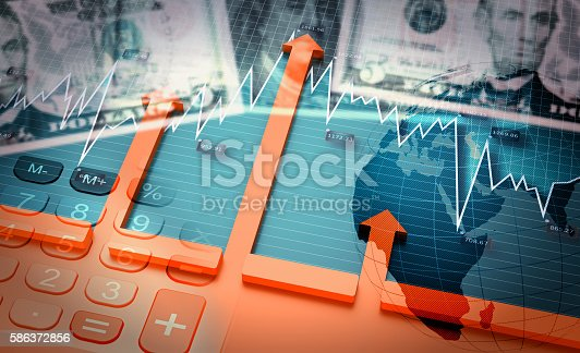 3D Illustration, Financial accounting stock market graphs analysis, growing world economy.