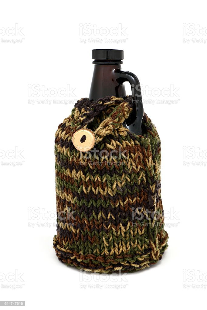 Growler in a Cozy stock photo