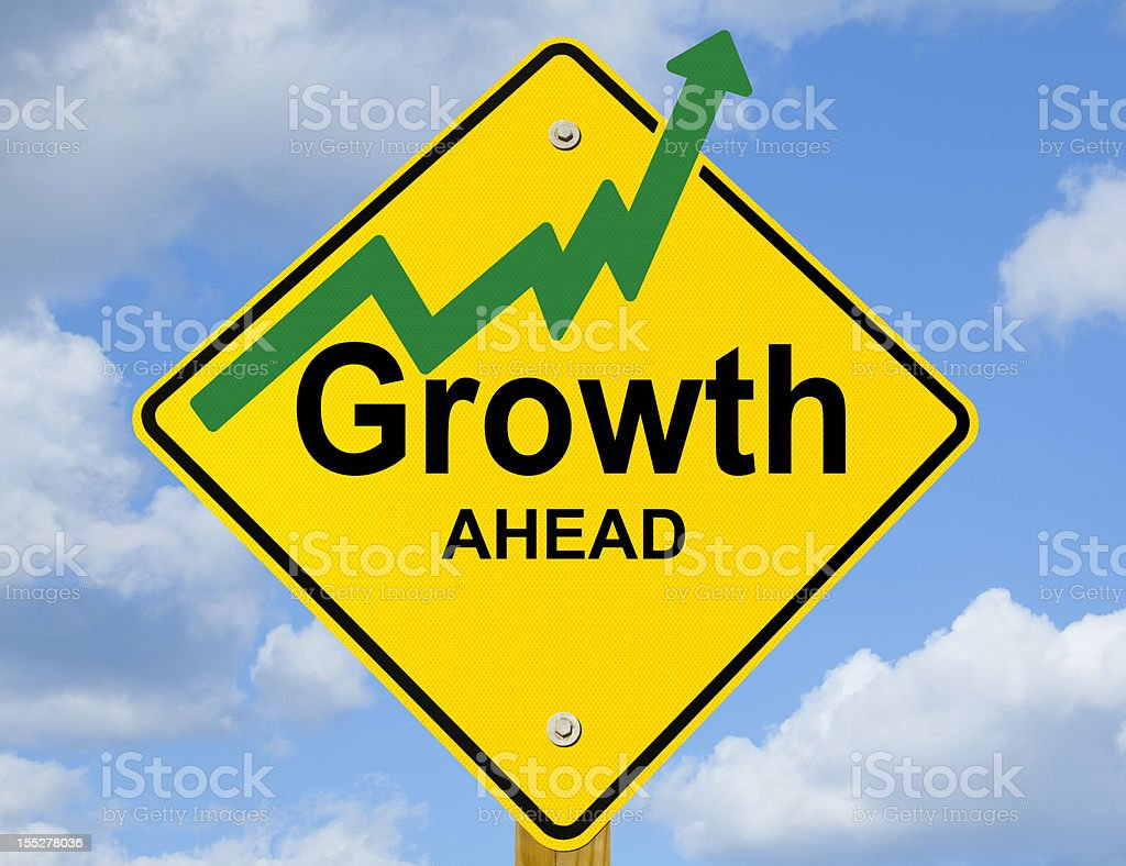 Growth Ahead Road Sign royalty-free stock photo