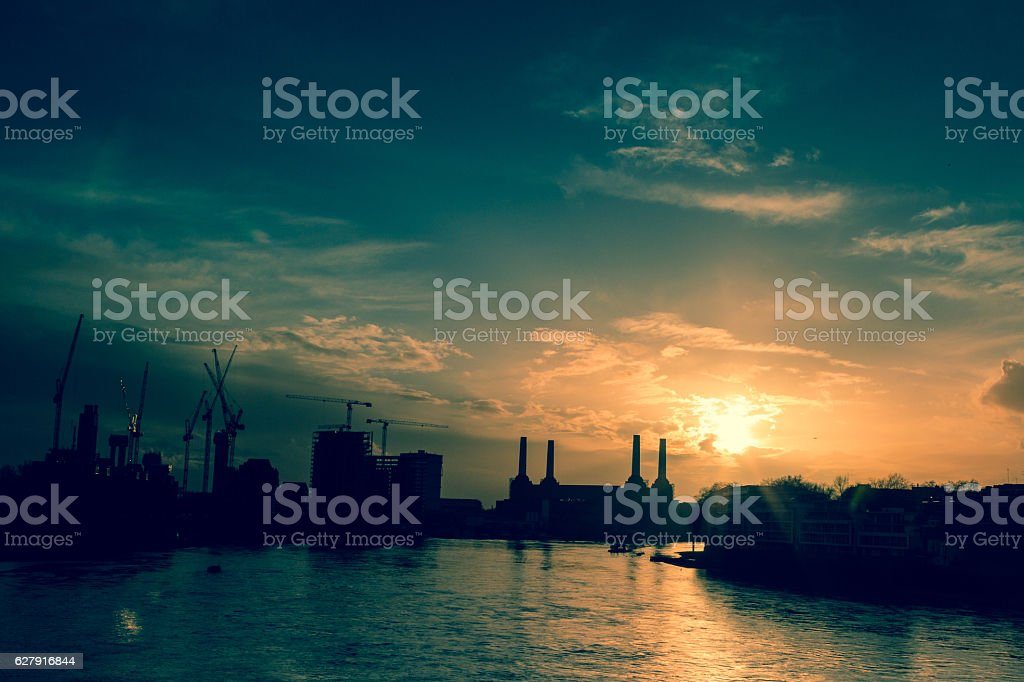 Growth and Development on London Skyline at Sunset stock photo