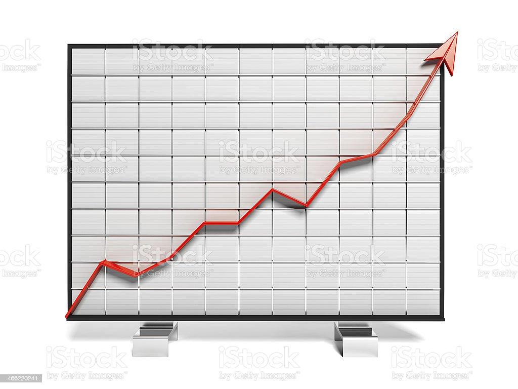 Growth Arrow Chart on white board stock photo