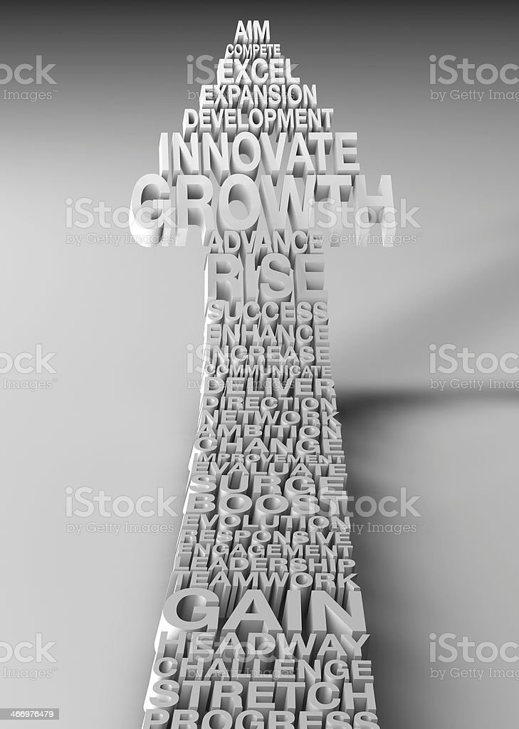 growth arrow pointing up to the sky stock photo
