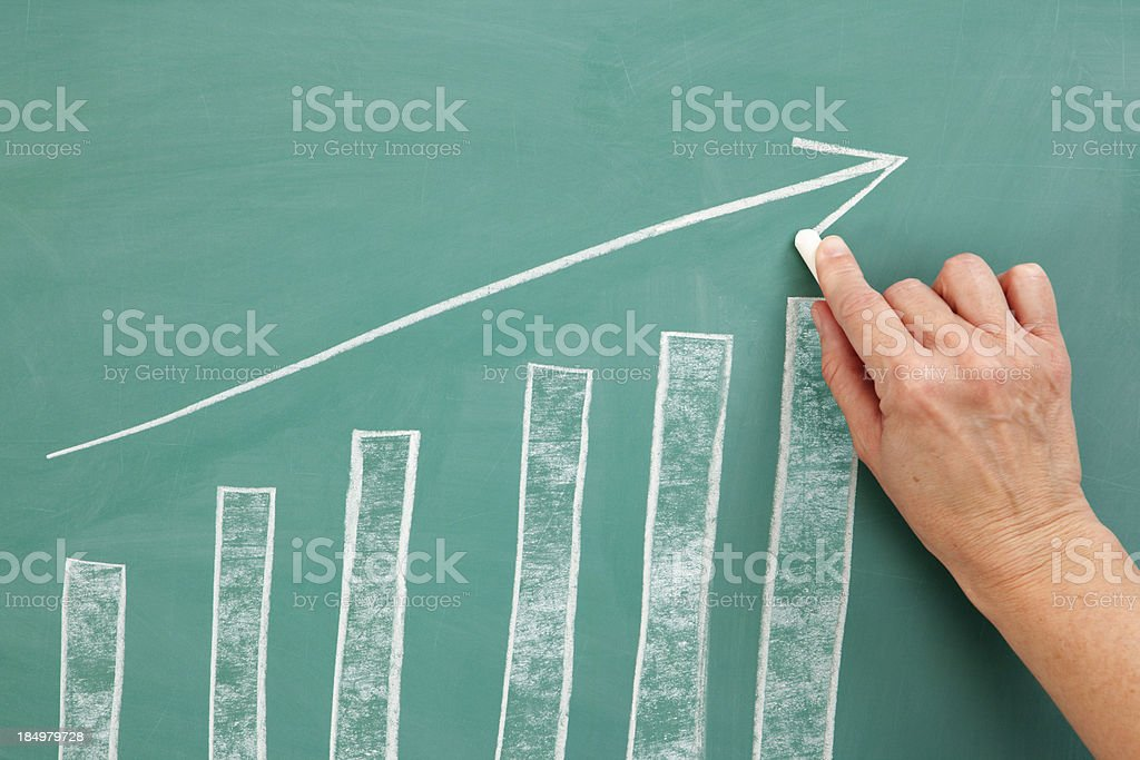 Growth:  Business Chart Chalk Drawing royalty-free stock photo