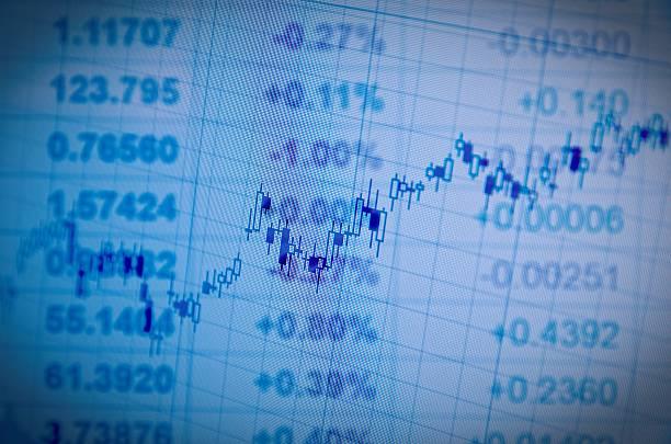 Wachstum candlestick chart auf PC-Bildschirm. Lo-fi-Effekt – Foto