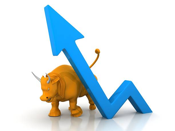 growth chart and bull stock photo