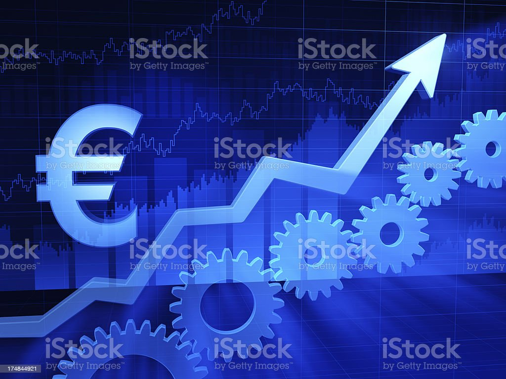 Growth chart. Euro sign royalty-free stock photo