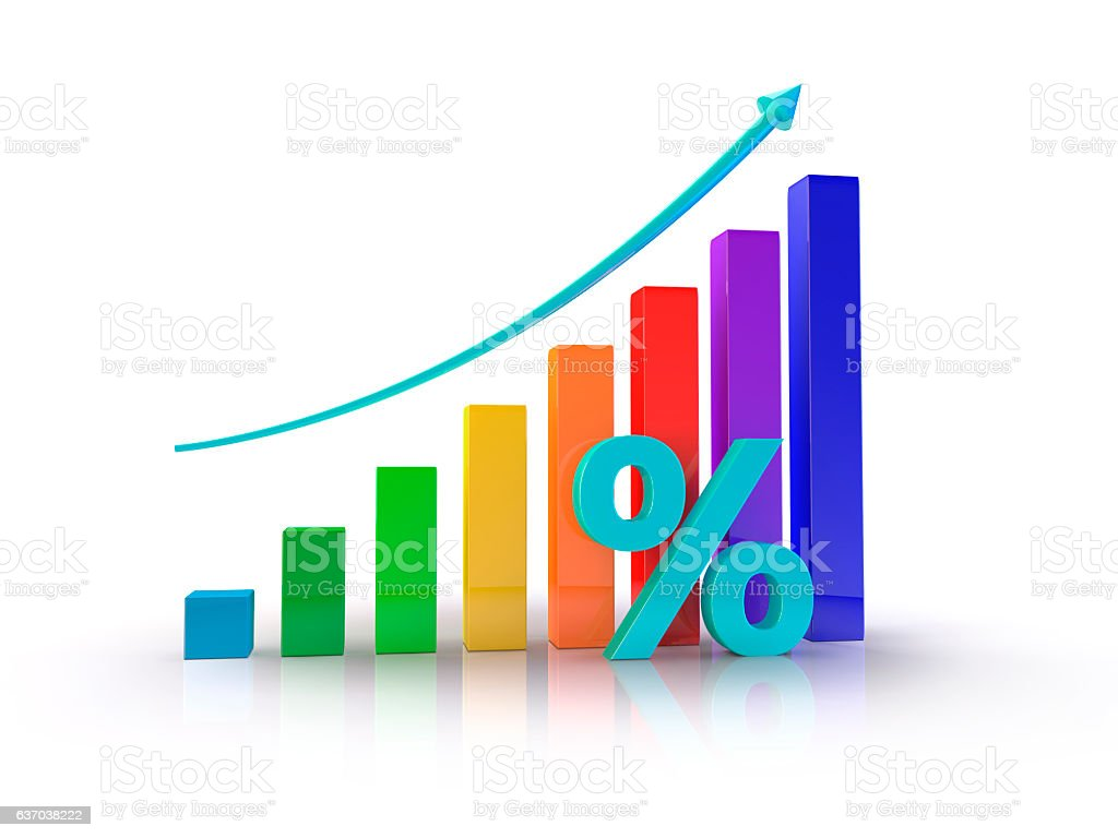 Growth Chart percent stock photo