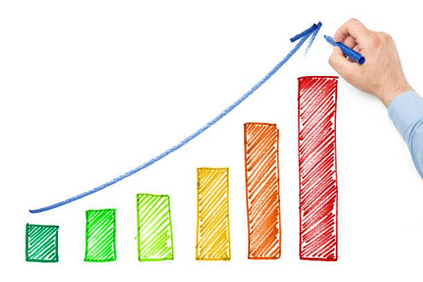 diagramma di crescita - diagramma a colonne foto e immagini stock