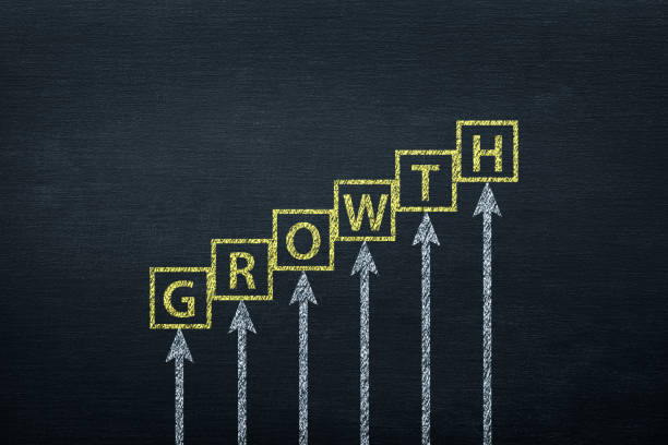 Growth Concept on Blackboard stock photo