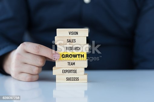 istock Growth Concept with Related Keywords on Wooden Blocks 639097758