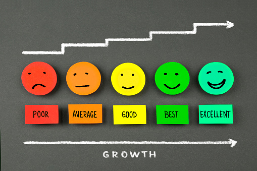 Growth diagram with Colorful smileys on chalkboard background