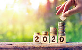 istock Growth Forecast Concept For 2020 - Coins Stack On Wooden Blocks 1168563407