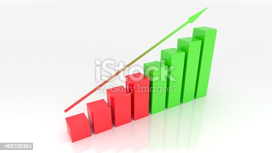 istock Growth graph 3d illustration isolated white background 468208384