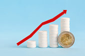 istock Growth graph made of stacked white pills and two euro coin 1212489959