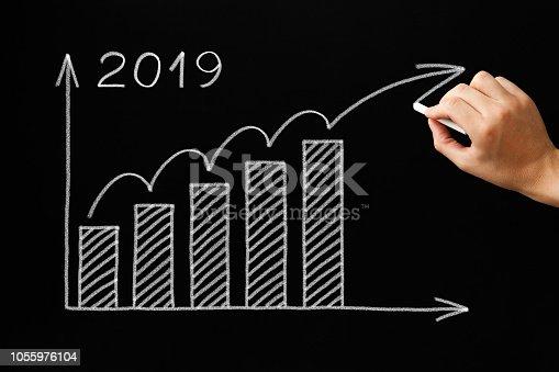 istock Growth Graph Year 2019 Blackboard Concept 1055976104
