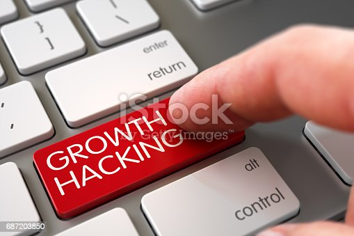 istock Growth Hacking - Keyboard Key Concept. 3D 687203850
