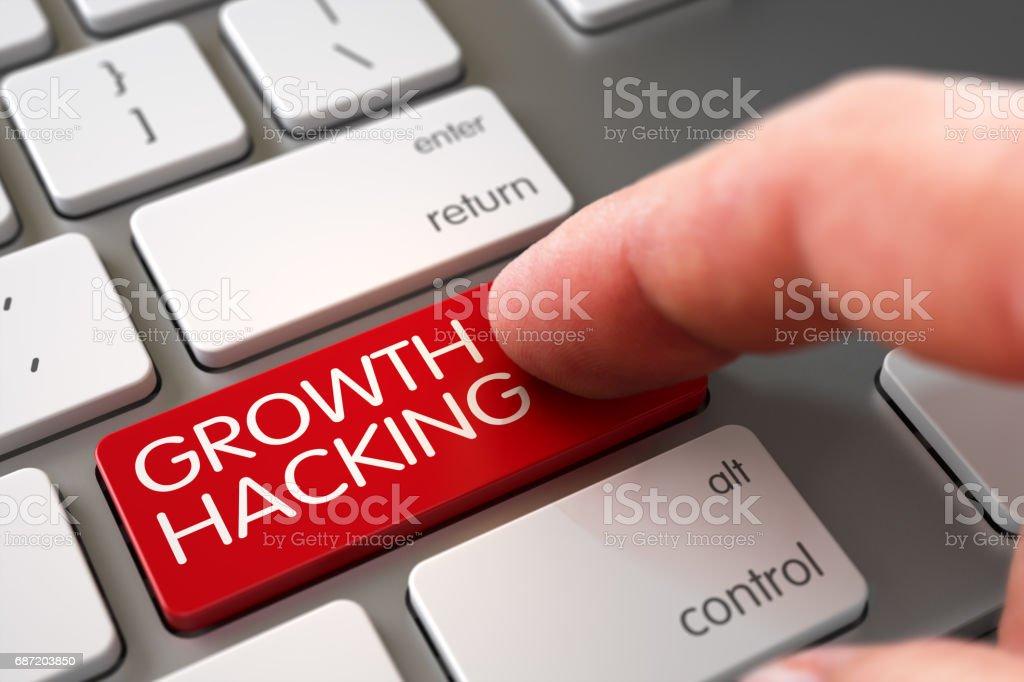 Growth Hacking - Tastatur Schlüsselbegriff. 3D – Foto