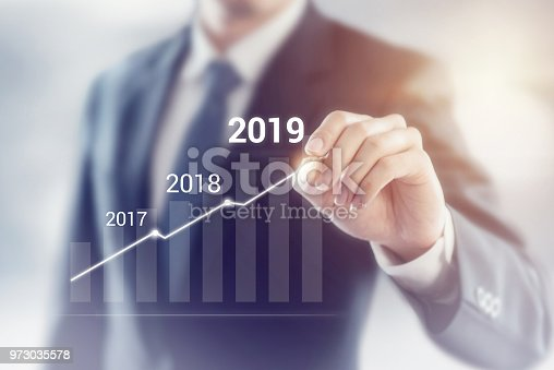 istock Growth in 2019 year concept. Businessman plan growth and increase of positive indicators in his business. 973035578