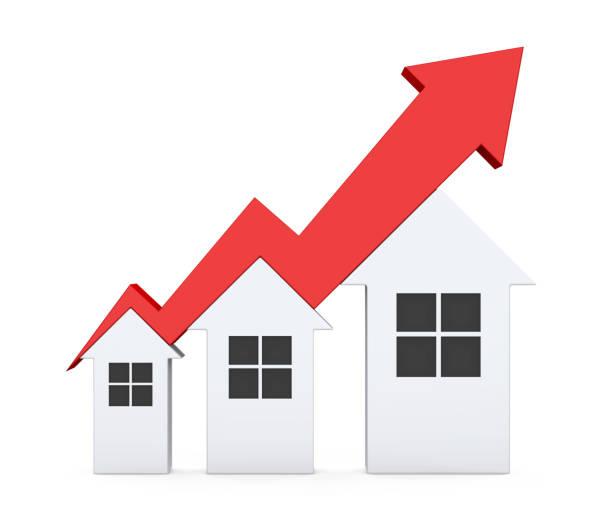 wachstum in immobilien abbildung - mieterhöhung stock-fotos und bilder
